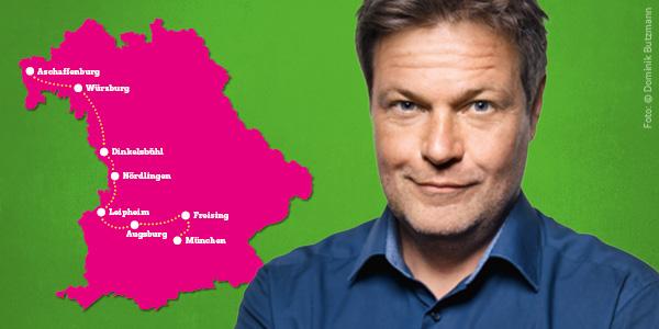 Robert Habeck auf Tour in Bayern vom 31.1. bis 2.2.: Aschaffenburg – Würzburg – Dinkelsbühl – Nördlingen – Leipheim – Augsburg – Freising – München