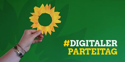 #DigitalerParteitag am 11. Juli: Sei dabei! Auf dem Bild ist das Logo des Parteitags zu sehen: Das mosaikartig verfremdete grüne Sonnenblumenlogo, das von einer Hand gehalten wird