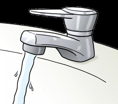 Ein Wasserhahn, aus dem Wasser sprudelt (Illustration)