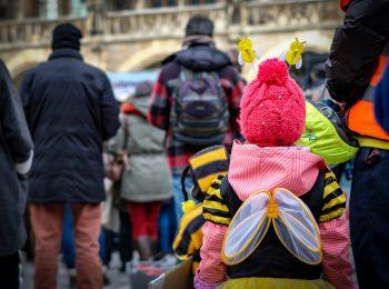 Impression von einer Demo für das Volksbegehren Artenvielfalt in München: Ein kleines Kind hat sich als Biene verkleidet.
