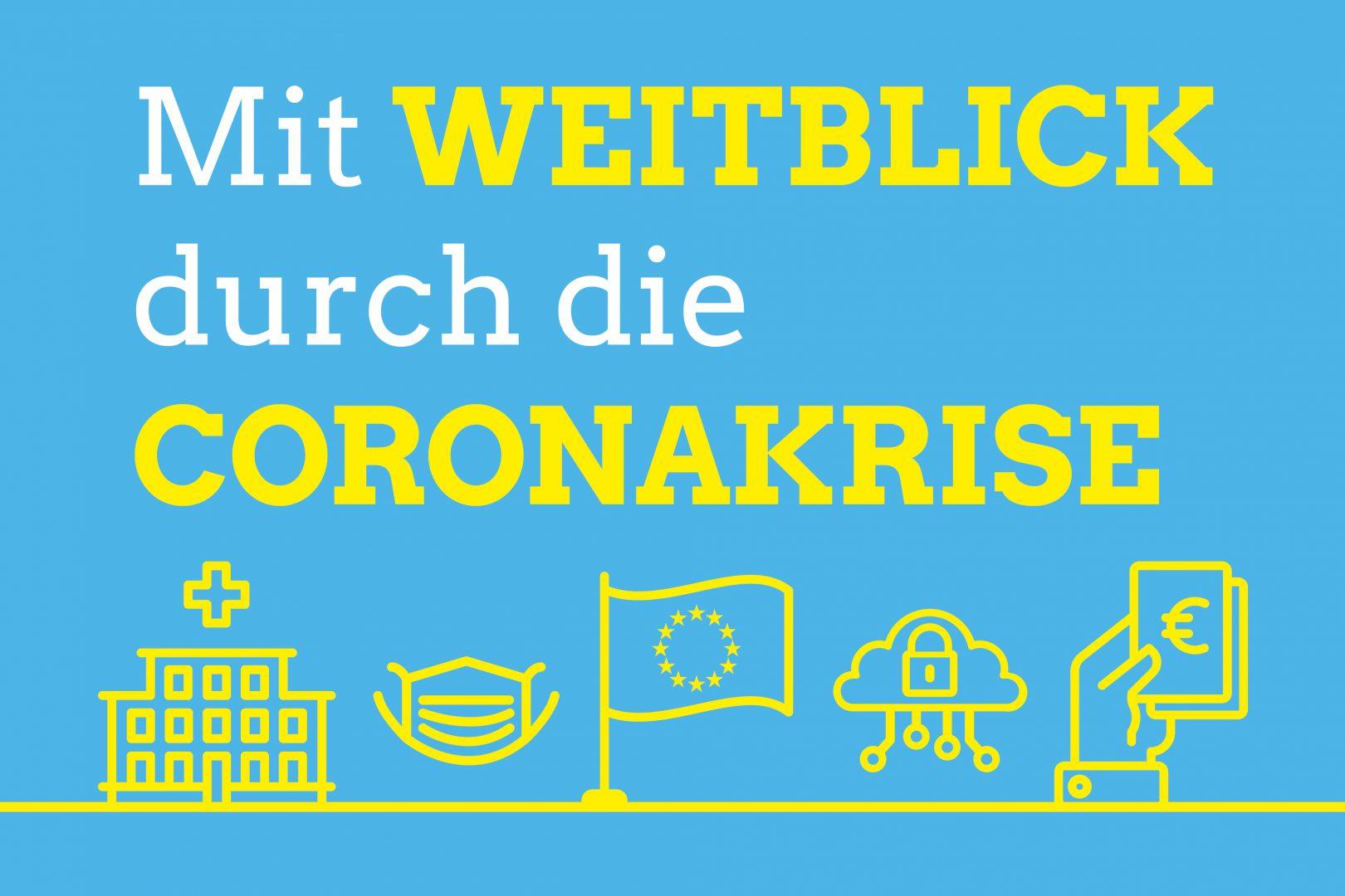 """Blauer Hintergrund mit Schriftzug """"Mit Weitblick durch die Coronakrise"""""""