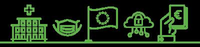 Strichgrafiken: Ein Krankenhaus, eine Atemschutzmaske, die Flagge der Europäischen Union, ein Vorhängeschloss in einer Wolke als Symbol für IT-Sicherheit, eine Hand mit Geldscheinen – all diese Elemente (und mehr) spielen eine Rolle im 20-Punkte-Plan der grünen Landtagsfraktion zur Bekämpfung der Coronakrise