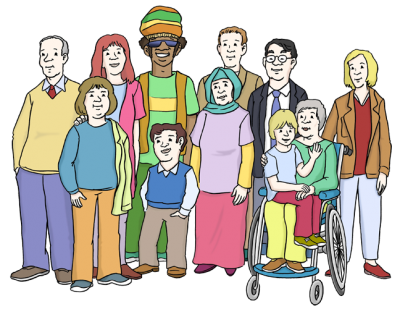 Eine große Gruppe unterschiedlichster Menschen allen Alters, Geschlechts, Herkunft ... (Illustration)