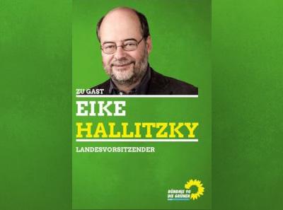 """Abbildung des Eindruckplakats von Eike Hallitzky mit einem Porträtfoto und dem Text """"Zu Gast: Eike Hallitzky,Landesvorsitzender"""""""