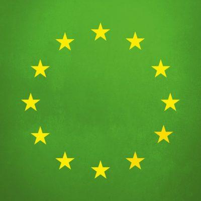 Die gelben Europasterne auf grünem Hintergrund