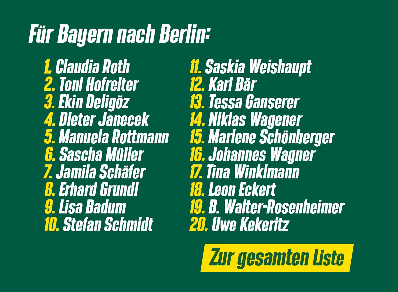 Für Bayern nach Berlin: unsere Liste