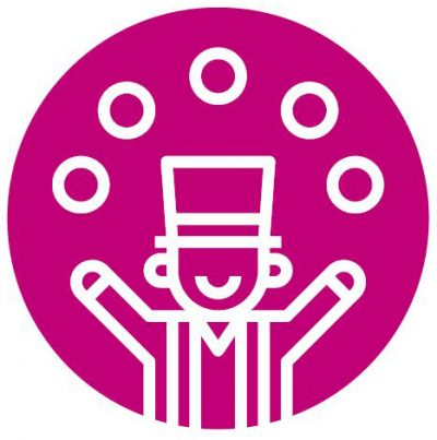 Jongleur als Symbol für den Wahlkampf-Typ Multitasking