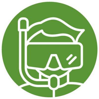 Figur mit Taucherbrille als Symbol für den Wahlkampf-Typ Tiefeintaucher*in