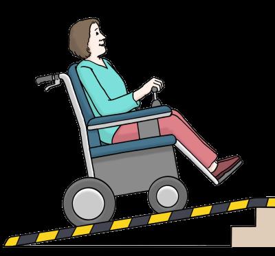 Eine Frau im Rollstuhl fährt eine tragbare Rampe hinauf (Illustration)