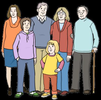 Ein Kind, ein Jugendlicher und erwachsene Menschen verschiedenen Alters stehen zusammen (Illustration)
