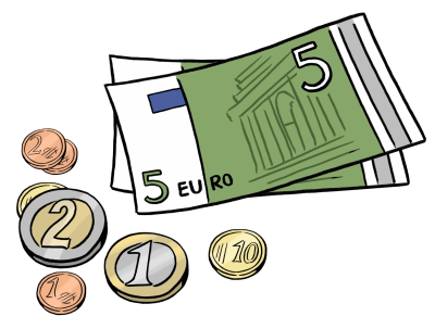 Zwei Fünf-Euro-Geldscheine und ein paar Münzen (Illustration)