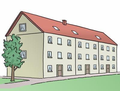 Mehrfamilienhäuser im Grünen (Illustration)