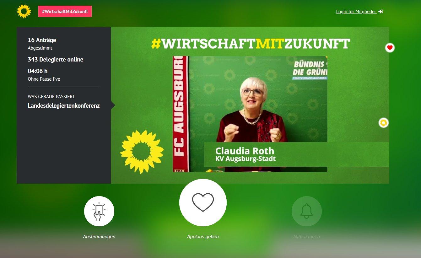 Screenshot des Konferenztools während eines Redebeitrags der Bundestagsvizepräsidentin Claudia Roth