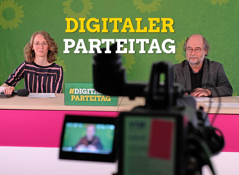 Eva Lettenbauer und Eike Hallitzky eröffnen den ersten Digitalen Parteitag der bayerischen Grünen