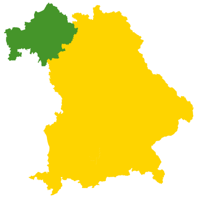 Eine Karte, die die Lage von Unterfranken in Bayern zeigt