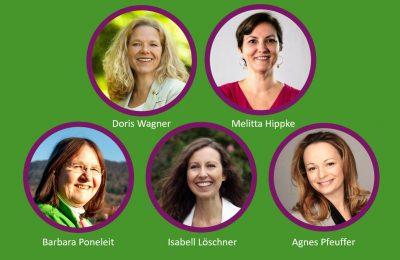Der Sprecherinnenkreis der LAG Frauen: Die Sprecher*innen Doris Wagner und Melitta Hippke, außerdem Barbara Poneleit, Isabell Löschner und Agnes Pfeuffer