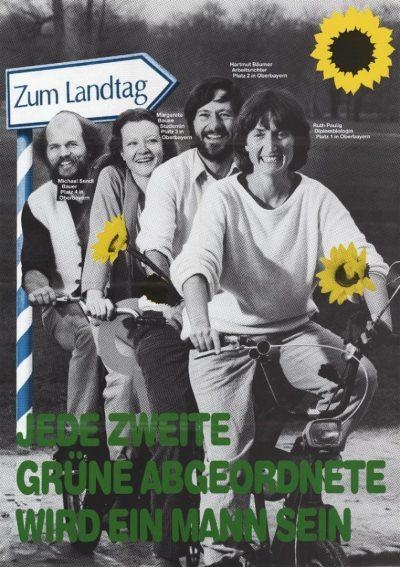 """Wahlplakat für die Landtagswahl 1986 mit dem Spruch """"Jede zweite grüne Abgeordnete wird ein Mann sein"""""""