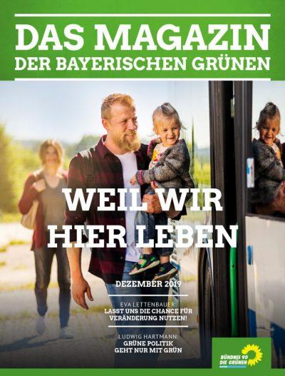 Weil wir hier leben: Das Titelbild des Magazins der bayerischen Grünen Nr. 4/2019 (Ein Vater steigt mit seiner Tochter auf dem Arm in einen Bus ein)