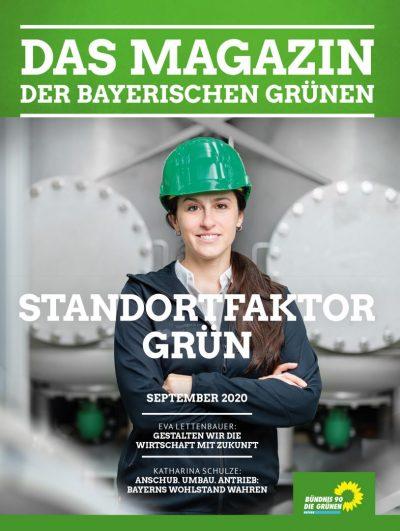 Standortfaktor Grün: Titelseite des Magazins der bayerischen Grünen Nr. 2/2020 (Eine junge Frau mit grünem Sicherheitshelm steht vor einer Industrieanlage, mit verschränkten Armen lacht sie selbstbewusst in die Kamera)